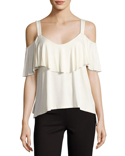 Ella Moss Bella Envelope Cold-Shoulder Top, Beige