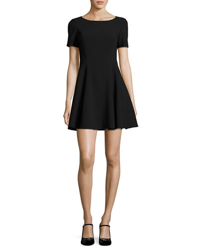 Halston Heritage Short-Sleeve Wide Crewneck Fit-&-Flare Dress