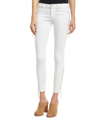 Hudson Suki Lace-Up Mid-Rise Skinny Ankle Jeans