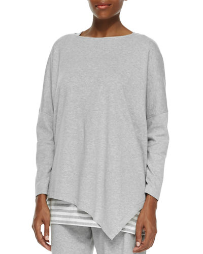 Joan Vass Plus Size Oversized Asymmetric Cotton Top
