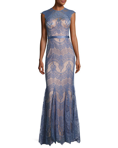 Cap-Sleeve Scalloped Floral Lace Evening Gown