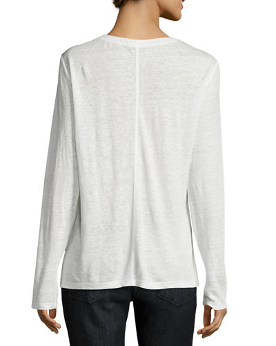 Paneled Linen Long-Sleeve Tee