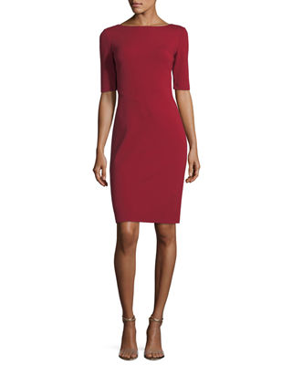 Asymmetric-Seamed Punto Milano Sheath Dress