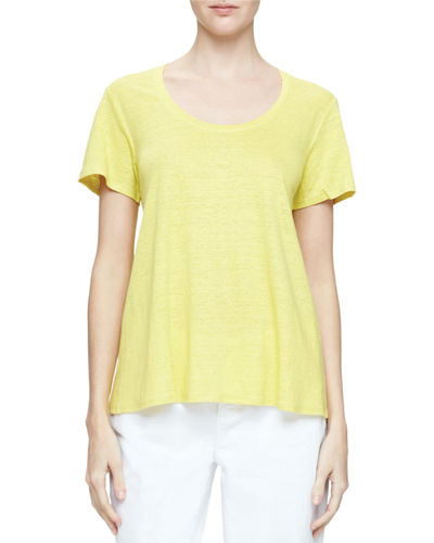 Eileen Fisher Short-Sleeve U-Neck Organic Linen Tee, Petite
