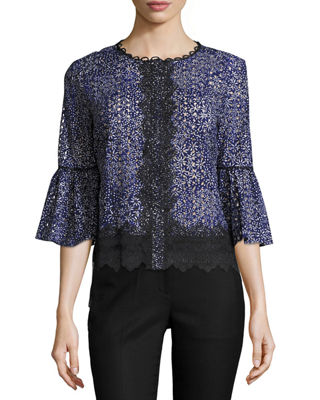 Elie Tahari Poppy 3/4-Sleeve Lacy Cotton Eyelet Blouse