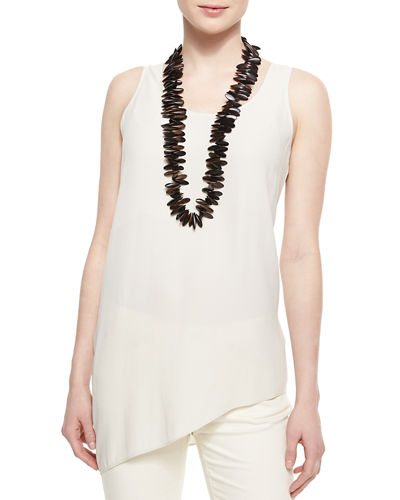 Silk Asymmetric Draped Shell