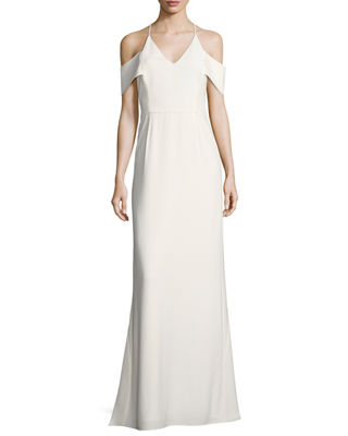 Image 1 of 2: Cold-Shoulder V-Neck Evening Gown