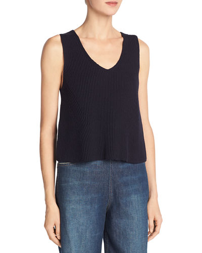 Vince Boxy Cotton Rib Tank Top and Matching