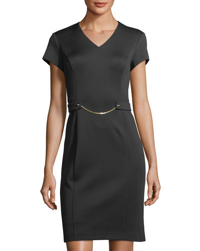 Ellen Tracy Chain-Detail Scuba Sheath Dress