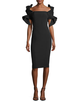 Badgley Mischka Origami-Sleeve Straight-Neck Crepe Cocktail Dress