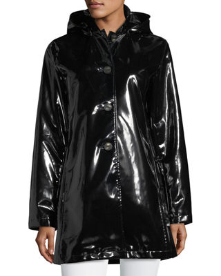 Jane Post Button-Front Shiny Waterproof Rain Slicker Jacket