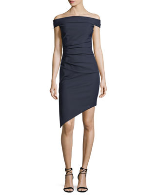 Ally Off-the-Shoulder Tech-Stretch Cocktail Dress