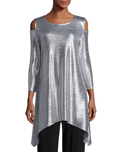 Caroline Rose Reflection-Knit Cold-Shoulder Tunic, Plus Size and