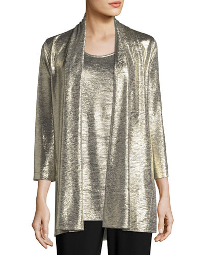 Caroline Rose Reflection Knit Metallic Easy Cardigan and