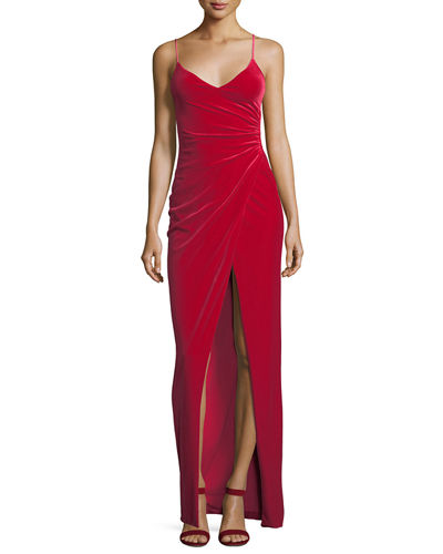 Bowery Sleeveless V-Neck Velvet Evening Gown