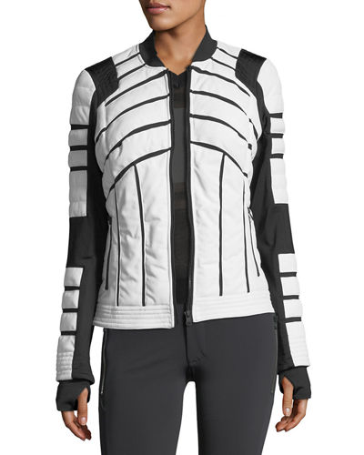 Quilted Bomber Jacket with Mesh-Inset