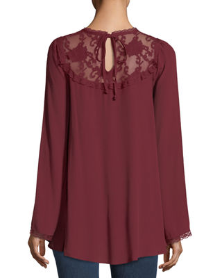 Image 2 of 2: Lace-Yoke Bell-Sleeve Blouse