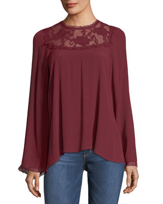 Image 1 of 2: Lace-Yoke Bell-Sleeve Blouse