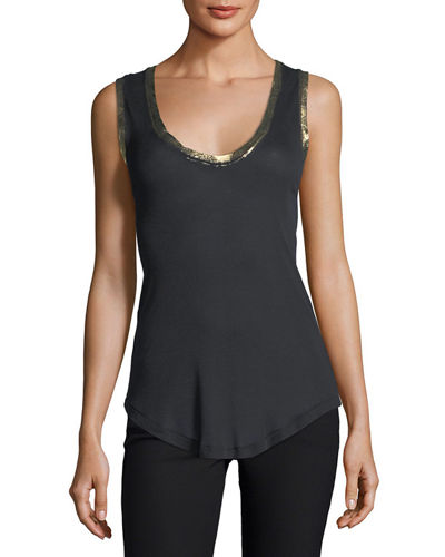 Tam Scoop-Neck Golden-Foil Tank