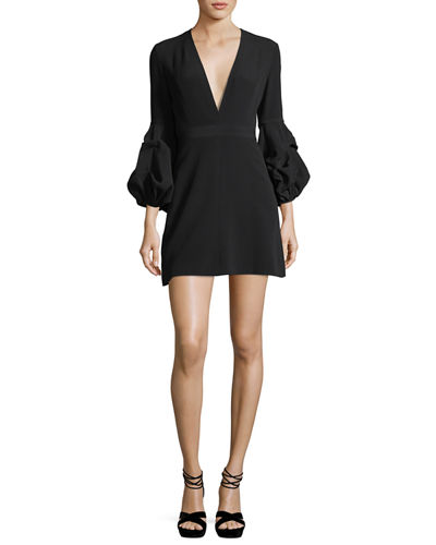 Alexis Fia Plunging Gathered-Sleeve Crepe Mini Dress