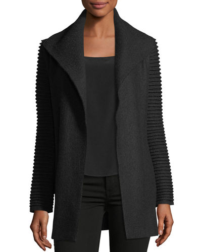 Superfine Alpaca Wrap Coat w/ Ribbed Sleeves