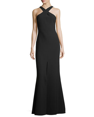 Kingsbury Halter Crepe Trumpet Evening Gown
