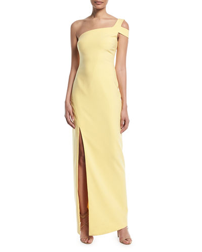 Maxson One-Shoulder Column Evening Gown
