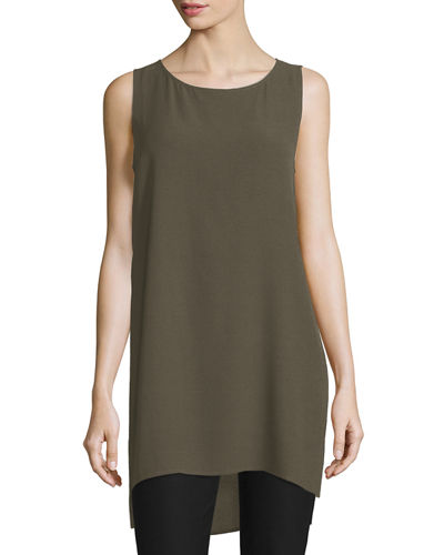 Scoop-Neck Silk Georgette Tunic, Petite