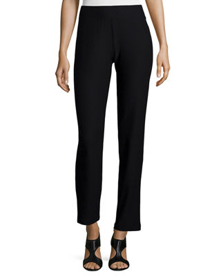 Eileen Fisher Washable-Crepe Straight-Leg Pants, Plus Size