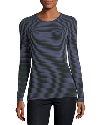 Extrafine Long-Sleeve Striped Crewneck Top