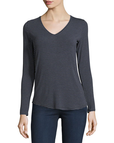Extrafine Long-Sleeve Striped V-Neck Top