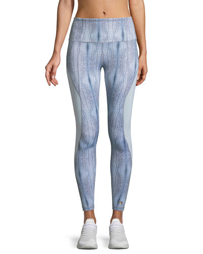 Aurum Passion Printed Mesh Insert Full-Length Leggings