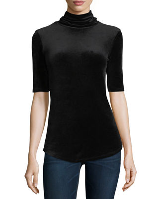 Half-Sleeve Velour Turtleneck