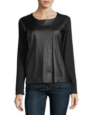 Image 1 of 4: Long-Sleeve Leather-Front Crewneck Top