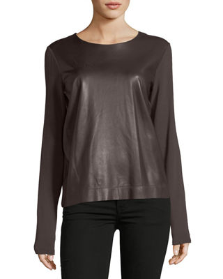 Majestic Paris for Neiman Marcus Long-Sleeve Leather-Front