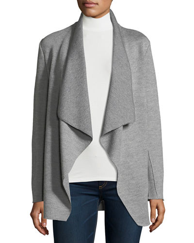 Double-Faced Wool/Cotton Draped Cardigan