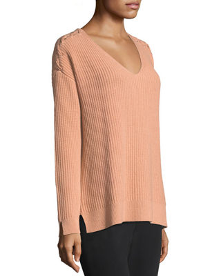 Shaker-Stitch Cashmere Pullover w/ Lace-Up Shoulders