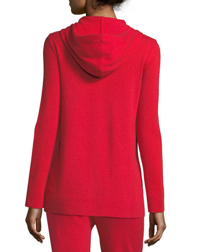 Chain-Trimmed Zip-Front Cashmere Hoodie