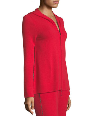 Neiman Marcus Cashmere Collection Chain-Trimmed Zip-Front