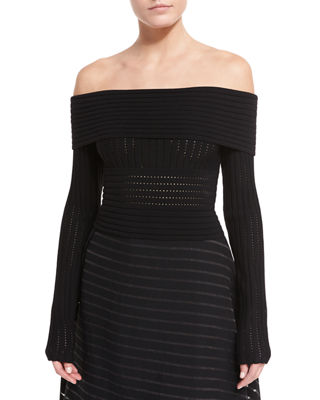 Diane von Furstenberg Long-Sleeve Off-the-Shoulder Knit Top