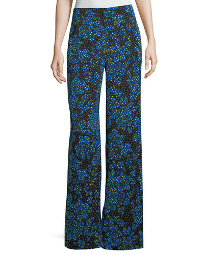Diane von Furstenberg Floral-Print Wide-Leg Silk-Blend Pants and