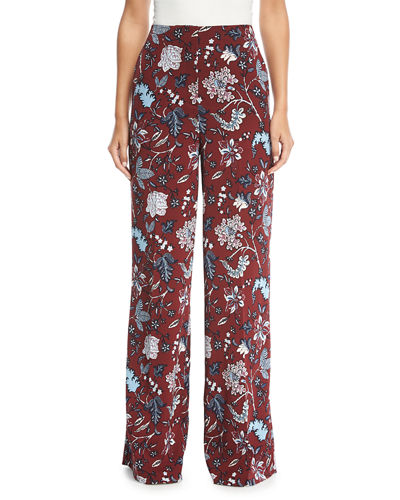 Floral-Print Wide-Leg Silk-Blend Pants