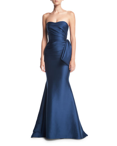 Badgley Mischka Strapless Sweetheart Mikado Satin Evening Gown
