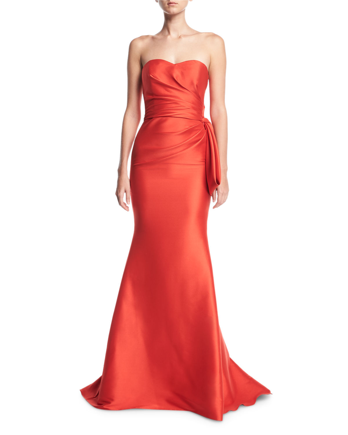 Strapless Sweetheart Mikado Satin Evening Gown w/ Bow Detail