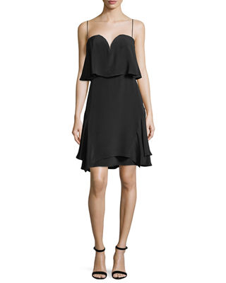 Kobi Halperin Trina Sweetheart Tiered Silk Cocktail Dress