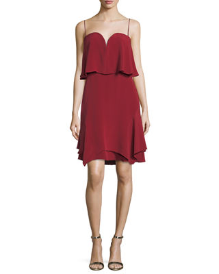 Trina Sweetheart Tiered Silk Cocktail Dress
