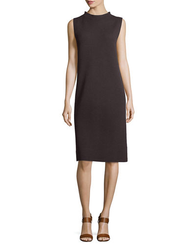Sleeveless Funnel-Neck Wool Sheath Dress, Petite