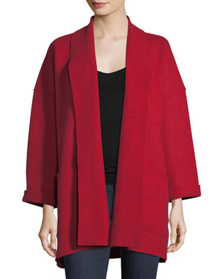 Eileen Fisher Boiled Wool Shawl-Collar Kimono Jacket