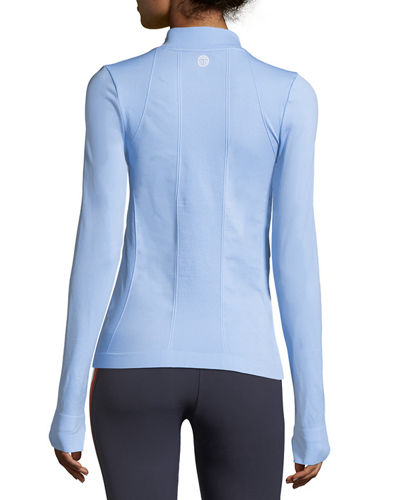 Seamless Quarter-Zip Long-Sleeve Pullover Top