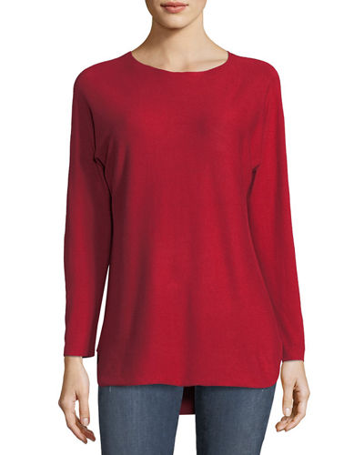 Metric Knits High-Low Boat-Neck Sweater